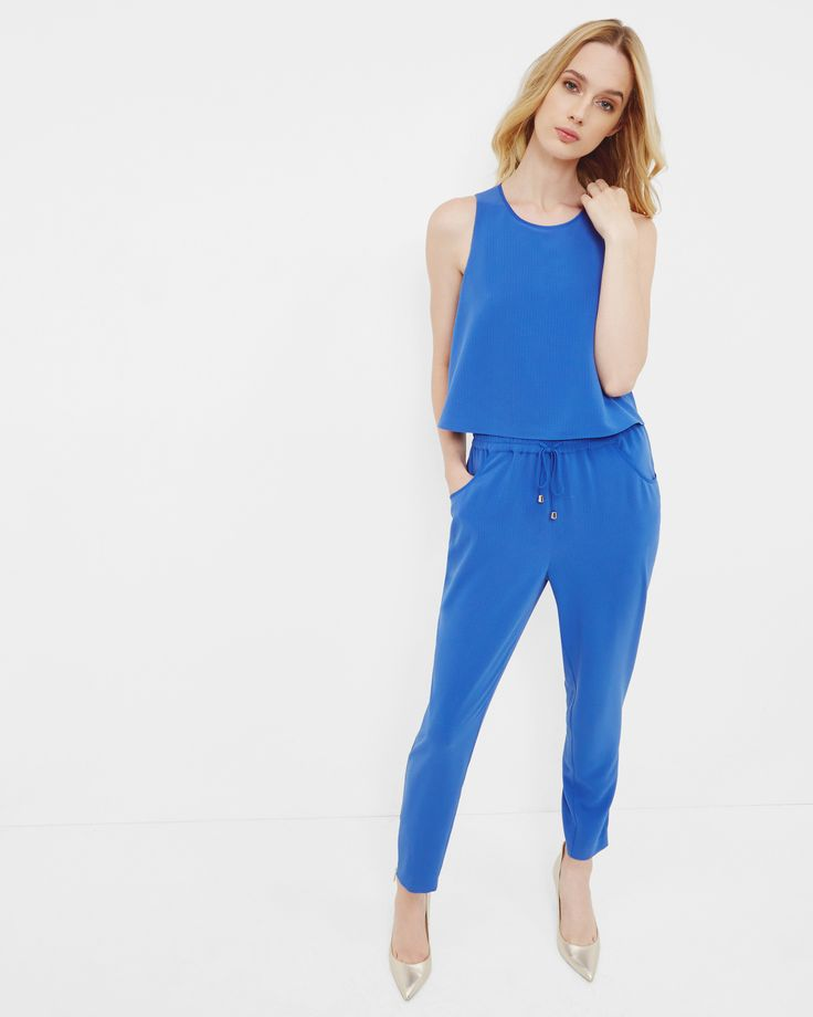 Layered detail textured jumpsuit - Bright Blue   Clothing   Ted Baker