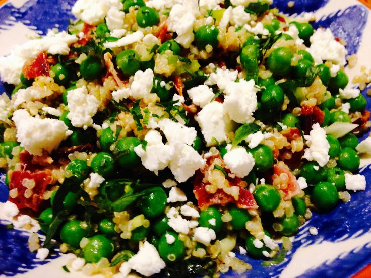 Quinoa, pea, bacon and goats cheese salad with champagne tarragon dressing