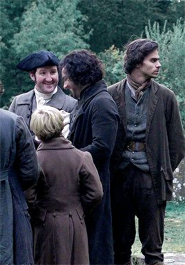 Video clip of a scene from Poldark with Aidan Turner as Ross, Geoffrey Charles and a Carnes brother.