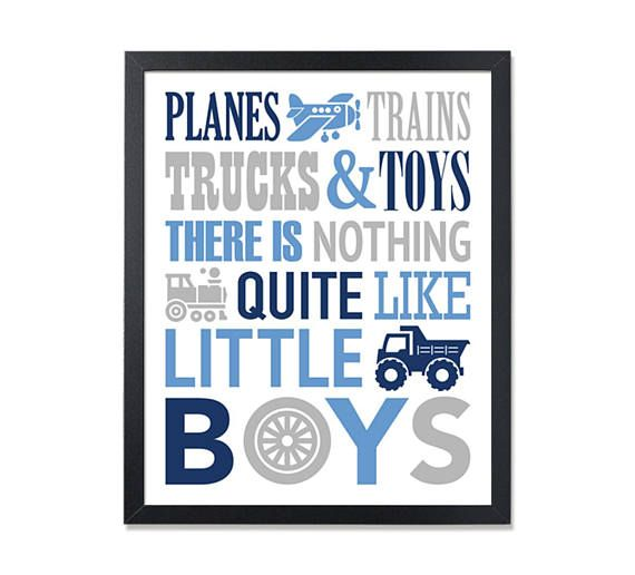 Navy Blue and Gray PRINTABLE Wall Art for boys room decor, Planes Trains Trucks And Toys There is Nothing Quite Like Little Boys Digital JPG