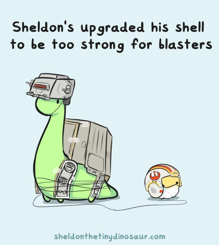 sheldontinydino: Happy New Star Wars Movie Day! Hope everyone can enjoy it like Sheldon and Puff here