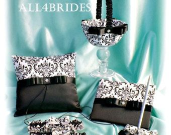 Damask Weddings basket pillow guest book cake set by All4Brides