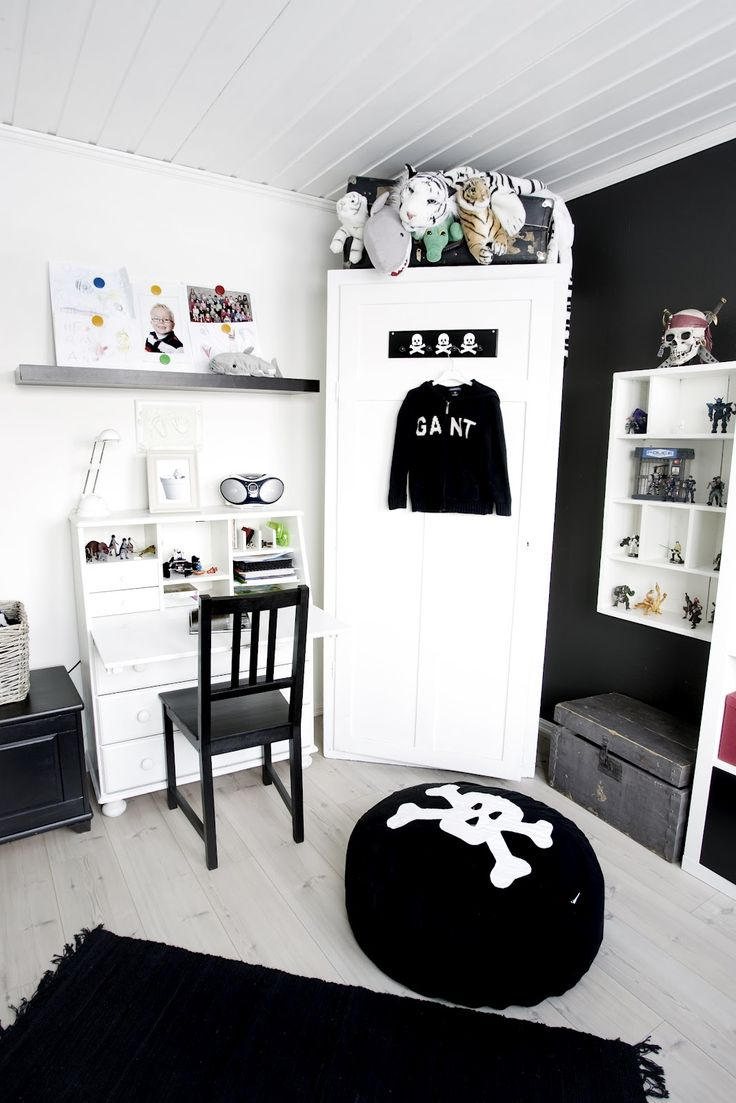 Kids Rooms Black and White Accents