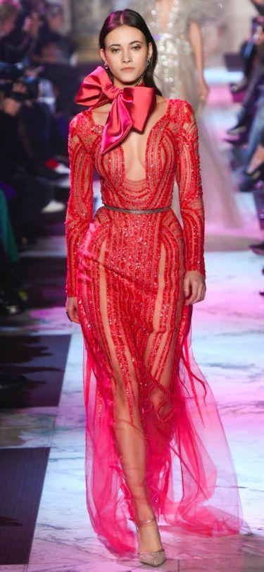 Elie Saab red evening dress for Oscars 2018 red carpet
