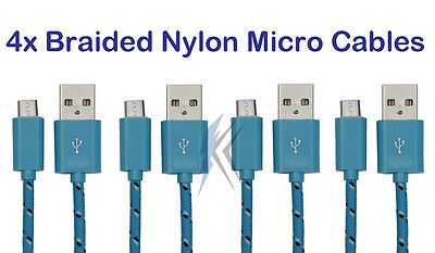 4x 6ft USB Micro Nylon Braided Cable for Samsung S4 S6 S7 Edge Note 2 4 5 + Blue SHIPS FAST