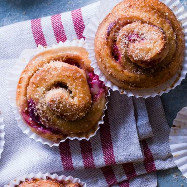 Cardamom and raspberry Swedish buns