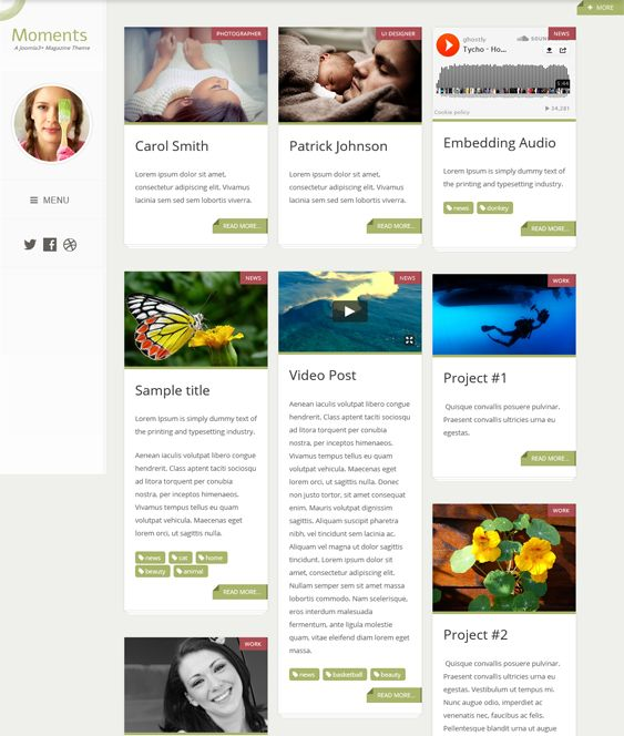 This masonry Joomla template includes a responsive layout, support for video, music, and images, a mega menu, a drag and drop layout builder, Google Fonts support, Bootstrap integration, live theme customization, and more.