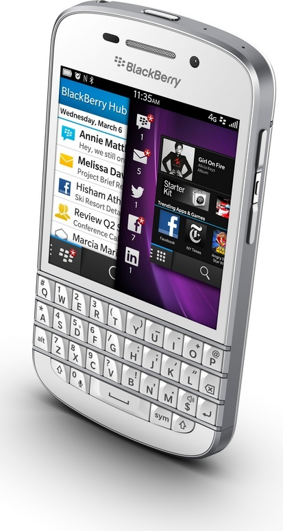 White Blackberry Q10 - front above angle