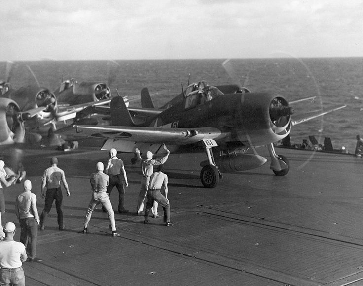 F6F Hellcat fighters prep for takeoff