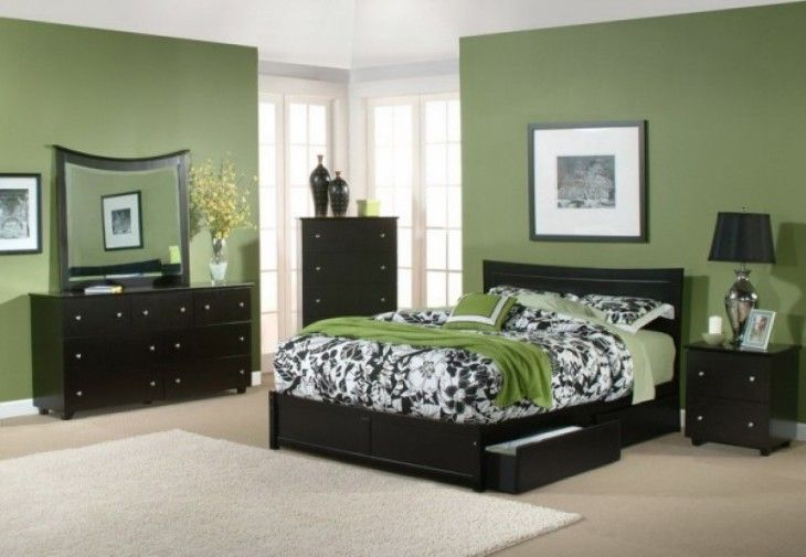 Bedroom Casual Green And Black Color Scheme Of Great Bedroom Interior Design With Nice Black Furniture - pictures, photos, images