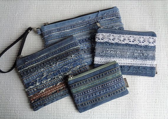 Denim makeup bags pouches Rock Grunge Distressed Upcycled                                                                                                                                                                                 More