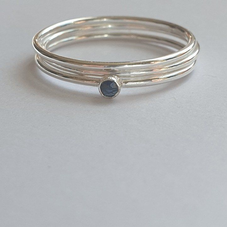 Sapphire ring silver stacking rings sterling silver rings