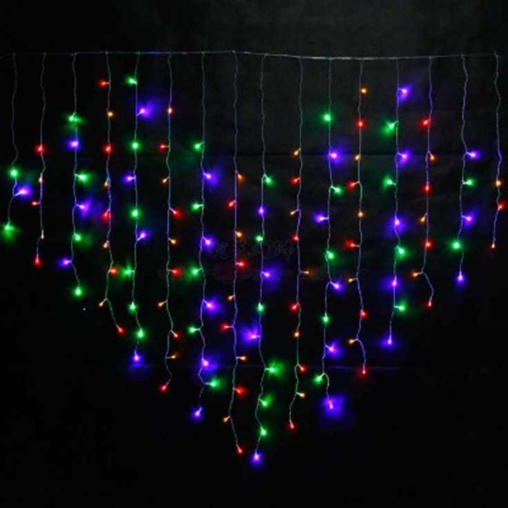 YIMIA 2x1.6m LED Holiday Christmas Curtain Lights Heart Dripping Icicle Lights 128 LED String Fairy Lights Wedding Decorations