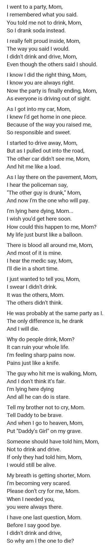 Please don't drink and drive..It's not fucking fair that the ones who don't drink suffer