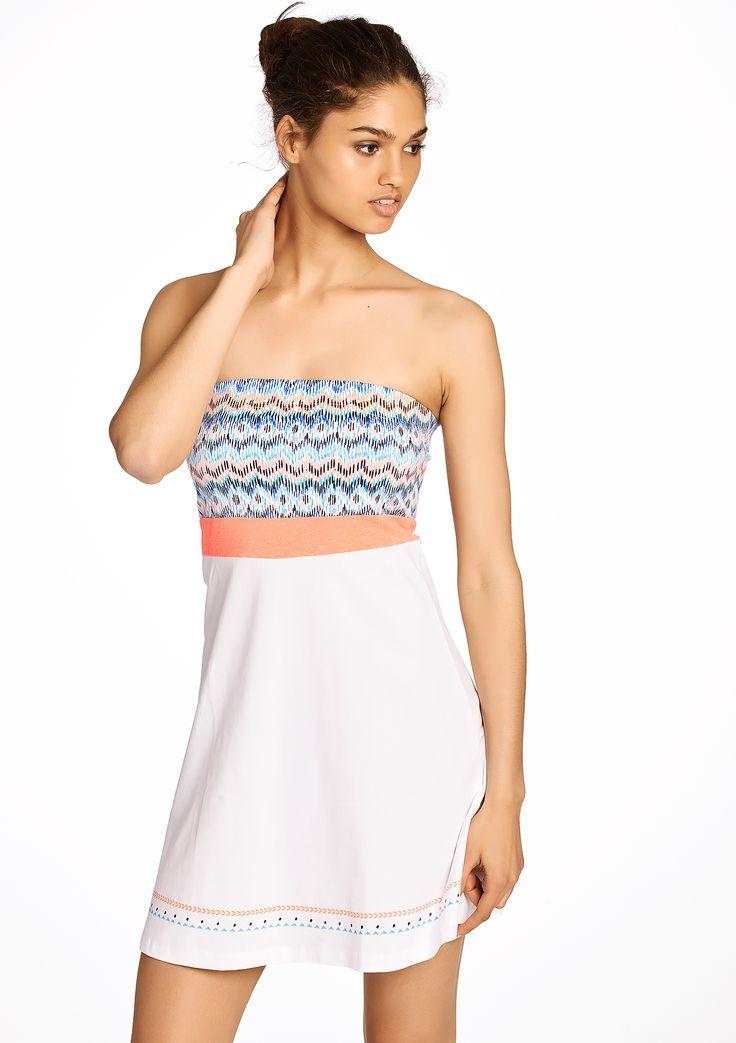 Bustier jurk met etnische print - OPTICAL WHITE - 08004368_1019