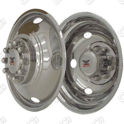 """Chevrolet Silverado 3500 Hd/Rv 1973-2010 Chrome Wheel Simulators (19.5"""" 5 Lug Front / 10 Lug Rear)"""