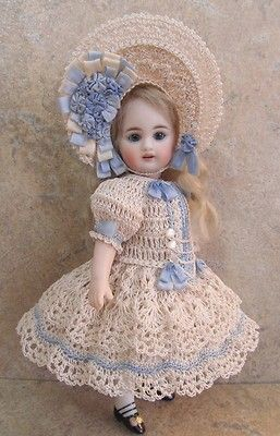 "VICTORIAN STYLE CROCHETED DRESS SET FOR 7 1/2""ALL BISQUE DOLL by Tina 