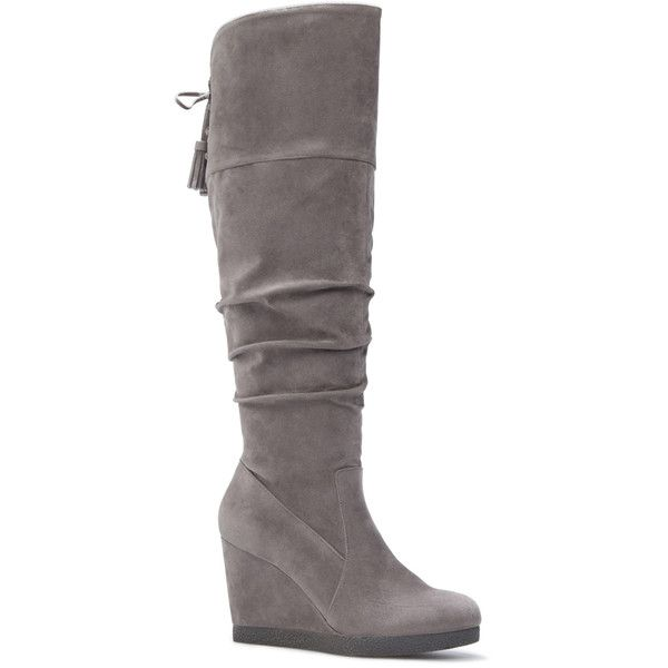 ShoeDazzle Wedge Sunni Womens Gray ❤ liked on Polyvore featuring shoes, grey, wedges, wedge shoes, grey shoes, wedge sole shoes, gray wedge shoes and grey wedge shoes