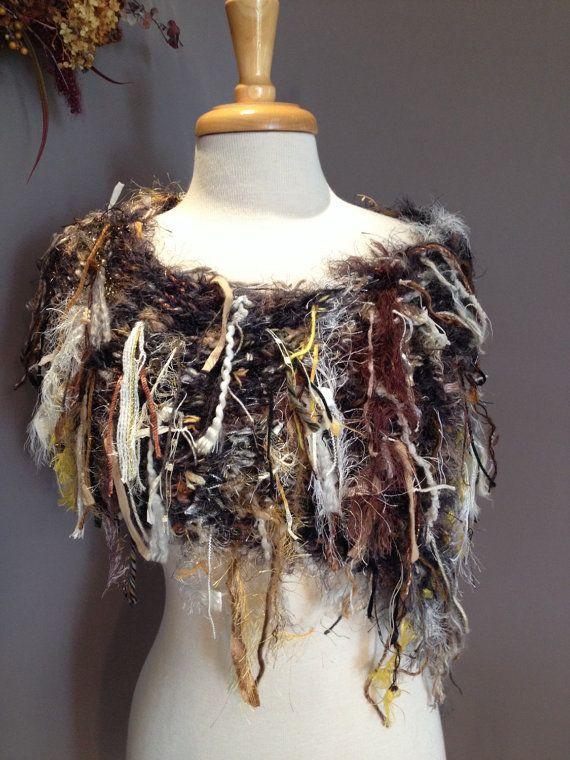 Knit Fringed Poncho - Dumpster Diva 'Rare Woods' Fringed knit boho poncho, shoulder wrap - Fringed neutral tone, women's clothing, wrap