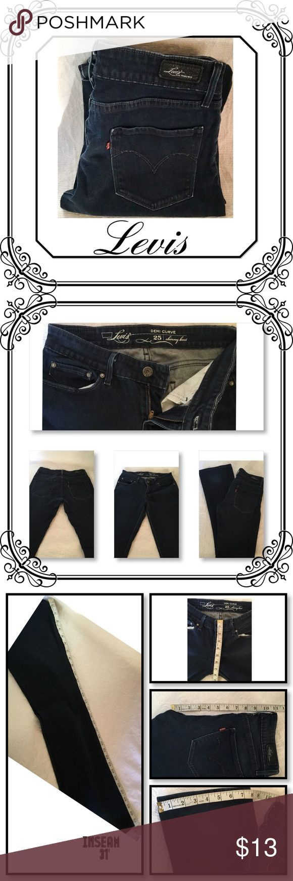 LEVIS SKINNY BOOT DARK WASH JEANS EUC //  SIZE 25 //  DEMI CURVE STYLE - SKINNY BOOT // SEE PIC FOR MEASUREMENTS. PRICE FIRM UNLESS BUNDLE//  No stains or rips// pet & smoke free home Levi's Jeans Skinny