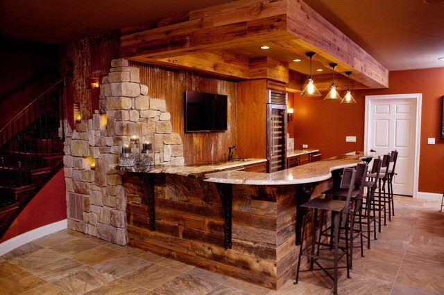 Pin 3: Antique and distressed stone is used around the bar, gives a rustic and luxury look, making you feel warm.