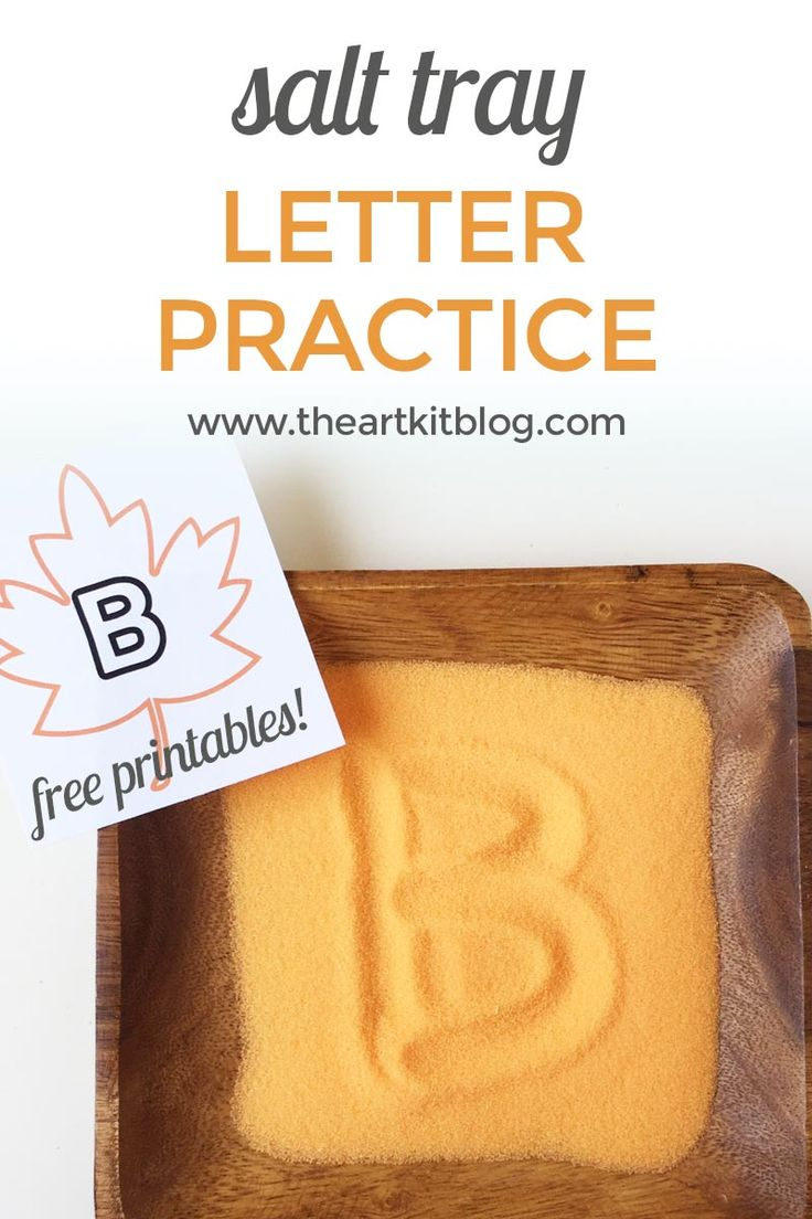 Salt Tray for Letter Writing Practice {With FREE Printables} – Fall Themed via @theartkit