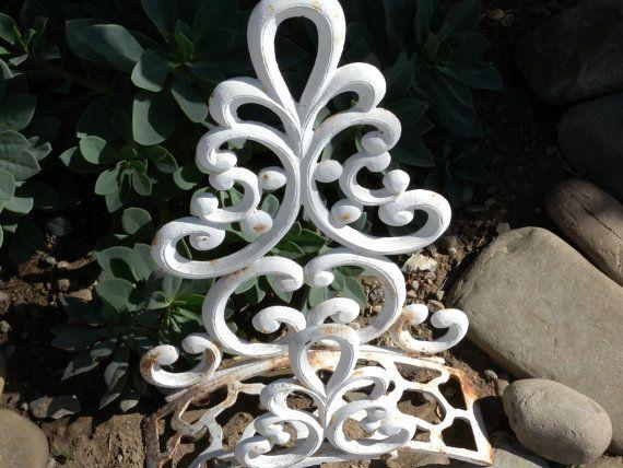 Vintage White Cast Iron Wall Mount Garden by vintagefinesandlinen, $35.00