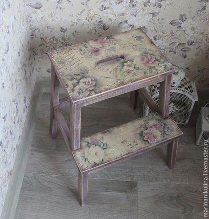 """Мебель ручной работы. Ярмарка Мастеров - ручная работа. Купить """"Летние письма""""  Табурет-ступенька. Handmade. Бледно-сиреневый, винтаж"""
