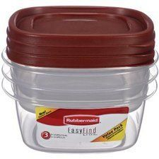 """Newell Rubbermaid Home 1777166 Durable Food Container 3.2 Cup by Newell Rubbermaid Home. $14.18. Lids and bases nest together and are microwave, freezer, and dishwasher safe. Includes 3 lids and bases each. Easy find lids snap together and to bases for easy storage. Secure stacking on shelf. Chilli red lid with clear bottom. """"EASY FIND LIDS """" DURABLE FOOD CONTAINER  Easy find lids snap together and to bases for easy storage  Lids and bases nest together and are microwave, fre..."""