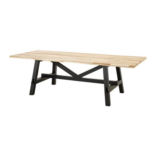 IKEA - SKOGSTA, Dining table, Every table is unique, with varying grain pattern and natural color shifts that are part of the charm of wood.Solid wood is a durable natural material which can be sanded and surface treated when required.