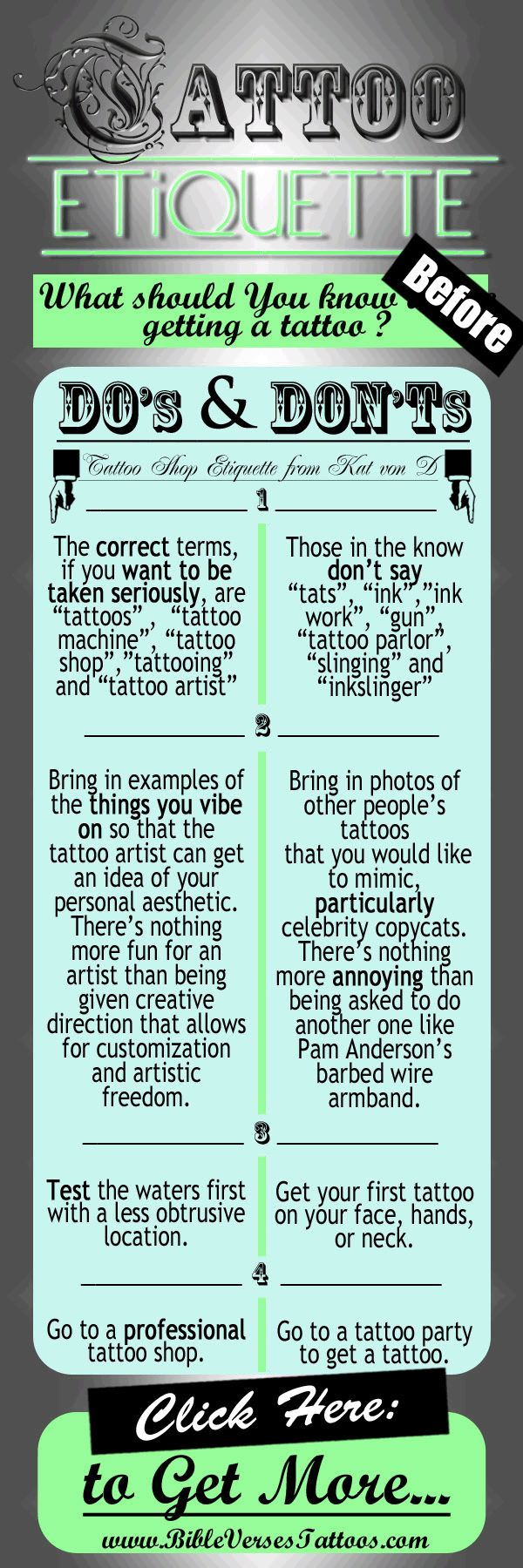 "TATTOO SHOP ETIQUETTE - from Kat Von D...  In Her 1st Book Titled:""High Voltage Tattoo"", Kat Von D of 'LA Ink' Explains that There Is a Bunch of Etiquette Guidelines You Should Keep in Mind Before Heading to the Tattoo Shop...  - - - - - - - - - - - - - - - - - - - - - - -"