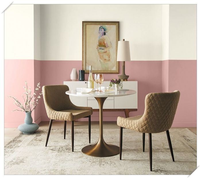 Color has no limits! Showcase your favorite Behr 2020 Color Trends paint colors by accenting a celing, shelf, or an accent wall. Room Wall Colors, Paint Colors For Living Room, Color Walls, Wall Colours, Paint Colours, Two Tone Walls, Behr Colors, Trending Paint Colors, Dining Room Walls