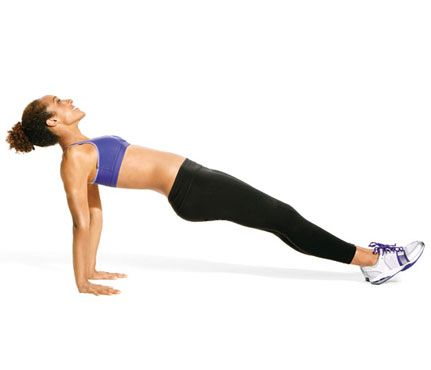 Flatter Abs in 5 Minutes! Start in reverse plank: wrists under shoulders, fingers forward, legs extended (as shown). Drop hips and swing them back between arms, sliding heels and keeping legs straight. Return to start for 1 rep. Repeat. Works abs, shoulders, triceps #SelfMagazine