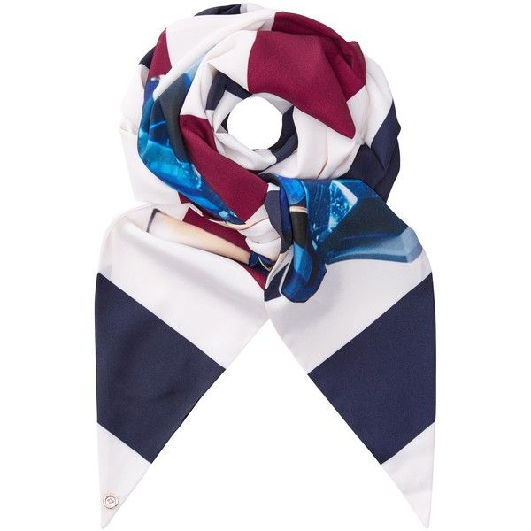 Ted Baker Rima Stripe Skinny Scarf (170 HRK) ❤ liked on Polyvore featuring accessories, scarves, ted baker, cream shawl, navy scarves, faux-fur scarves and navy shawl
