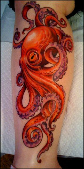 Octopus tattoo. I like the flow of the tentacles and the colours :)