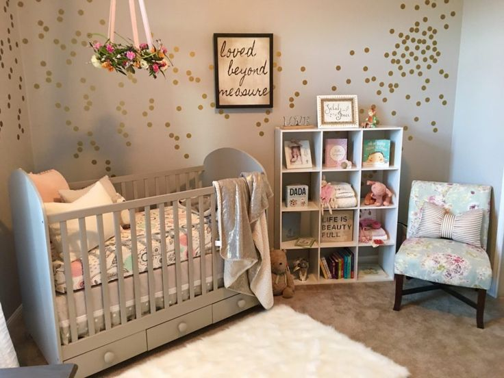 A winning combination - Gray, gold and blush pink in this girl's nursery.