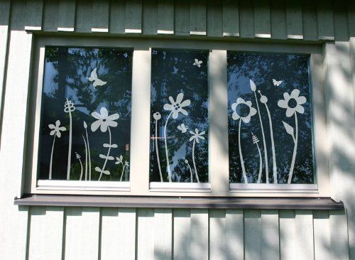 """Fenstertattoo - Motiv """"Blümchenwiese"""" aus Milchglasfolie in Farbton TRANSPARENT mit Silberglitzer"""