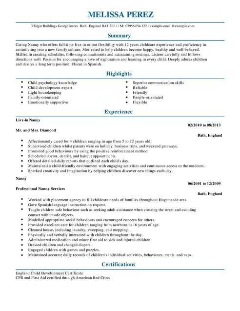 A Nanny Resume Examples ResumeExamples