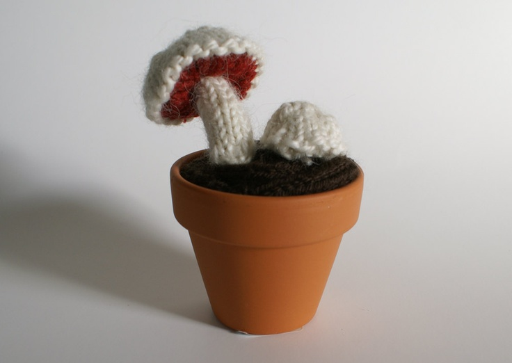 Knitted Mini Mushrooms in Cream and Rust Red. $36.00, via Etsy.