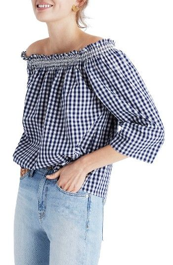 Free shipping and returns on Madewell Smocked Gingham Off the Shoulder Top at Nordstrom.com. Crisp cotton gingham is quintessentially summery in this cute, boxy top that bares your shoulders for soaking up the sunshine.