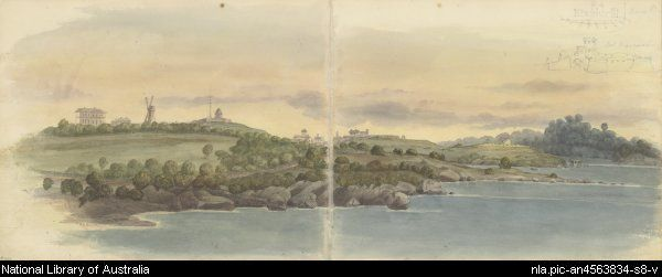West side of Farm Cove with distant view of the Military Hospital, the smock-mill and Fort Phillip, Sydney, ca. 1818