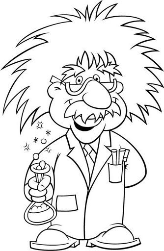 Albert Einstein coloring page with glasses and more online lesson activtities.