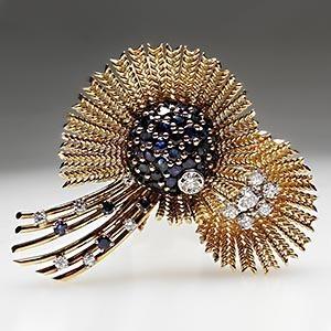 Vintage 1950's Brooch Pin Diamond & Natural Blue Sapphire Solid 18k Gold - EraGem