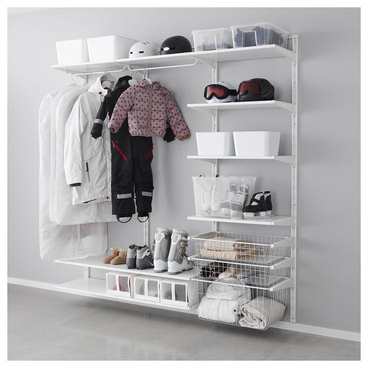 IKEA - ALGOT, Veggskinne/hyller/stang, Delene i ALGOT-serien kan kombineres på mange ulike måter og er derfor enkle å tilpasse etter behov og plass.Siden du bare trenger å klikke på plass hylleknekter, hyller og annet tilbehør, er det enkelt å montere, tilpasse og endres din oppbevaringsløsning.Kan stilles hvor du vil hjemme, selv i fuktige områder som baderom og innglassede balkonger.