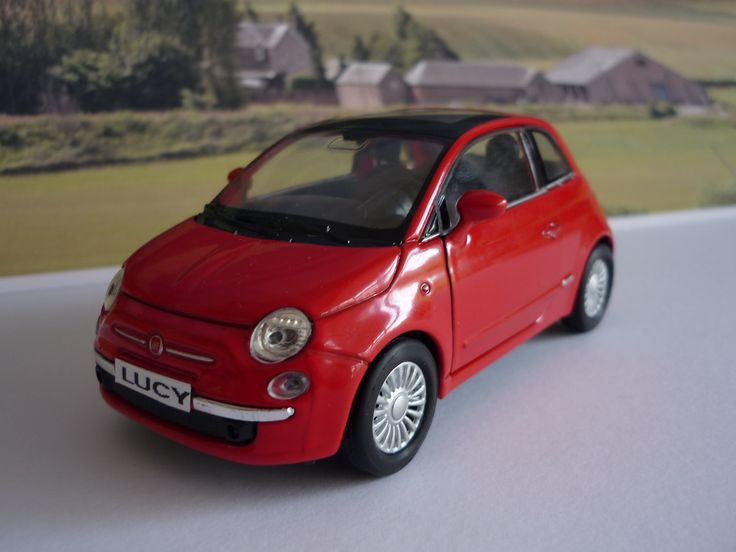 Personalised Plate Red Fiat 500 Toy Car