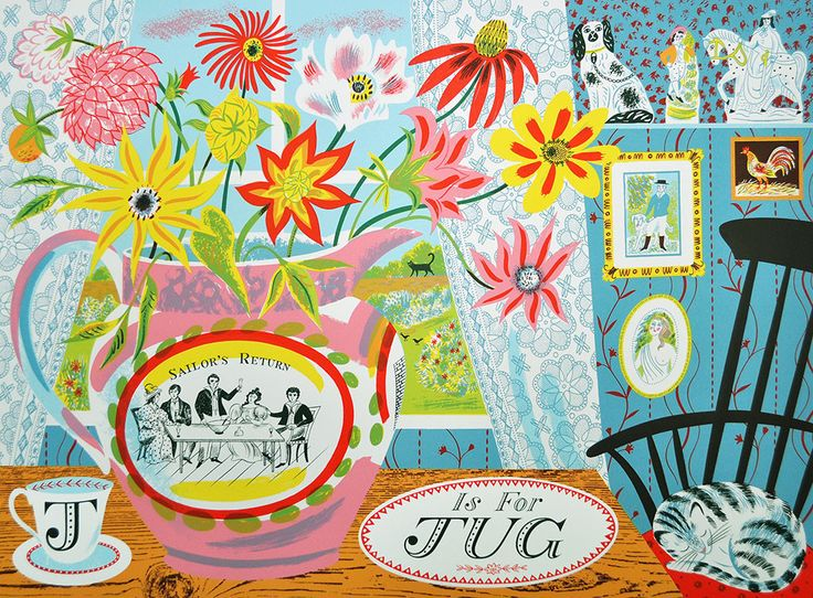 "Emily Sutton ""J is for Jug"" limited edition screenprint http://www.stjudesprints.co.uk/products/j-is-for-jug-1"