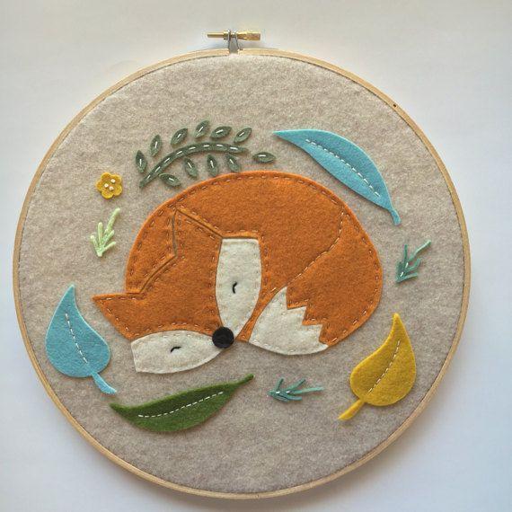 Embroidery Hoop Art Wall Art Woodland Nursery Room by nolaandvi