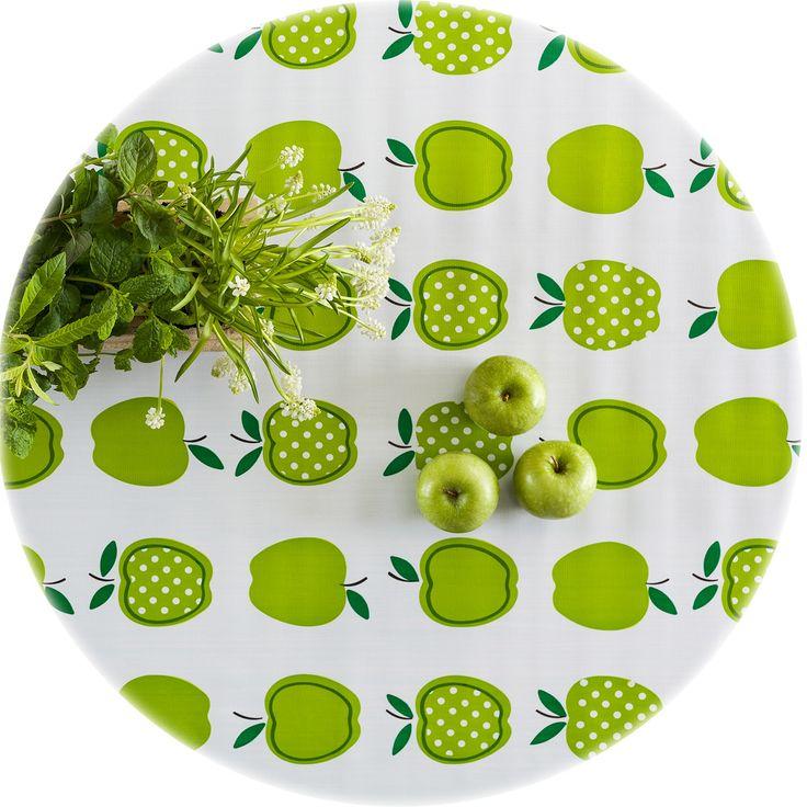 zeil rond 1,20x1,20m appels stippels lichtgroen MixMamas, tafelzeil, Spaanse schoenen, bonfim gelukslint, luiertassen, oilcloth, wachstuch