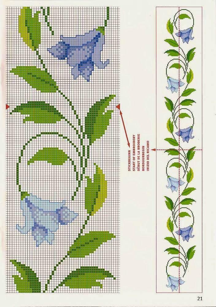 Punto croce - Schemi e Ricami gratuiti: Schema punto croce; boccioli di rose, papaveri e farfalle