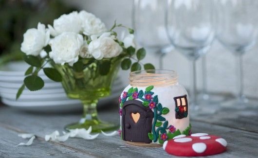 Glass jar craft – Candle holders decorated with polymer clay